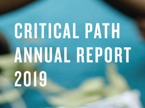 """Text overlaid a blue and green background that reads """"Critical Path Annual Report 2019"""""""